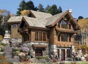 Комбинированный дом из бруса